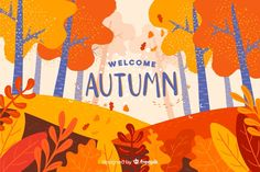 Background of flat autumn landscape Free Vector Autumn Landscape, Fall Wallpaper, A Level Art Sketchbook, Tree Illustration, Fall Drawings, Vector Free, Autumn Illustration, Watercolor Illustration, Watercolor Autumn Leaves