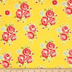 Riley Blake Sidewalks Flannel Floral Yellow from @fabricdotcom  Designed by October Afternoon for Riley Blake, this single napped cotton print flannel fabric is perfect for quilting, apparel, crafts, and home decor items. Colors include yellow, coral, red, cream, sage, and light blue.