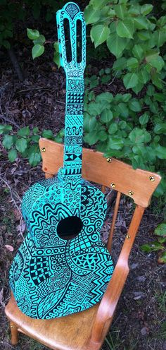 Blue Pop Art Guitar, I would play this everyday!<--- if it had strings/.