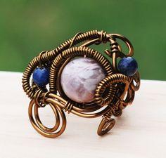 Petrified Wood Sodalite Antique Bronze Wire Wrap Spiral Adjustable Gemstone Ring #Jeanninehandmade #Wrap