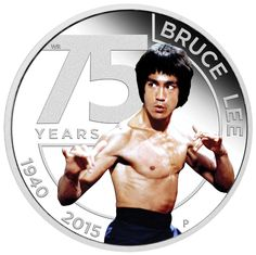 TUVALU 2015  1 $ Dollar - 75th Anniversary of Bruce Lee - 1 Oz. Silver Proof Coin in Color. TUVALU 2015  1 $ Dollar - 75 Jahre Bruce Lee - 1 Oz. Silber Farbe in Polierter Platte
