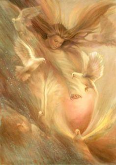 Angel Flying with Doves, Oil Painting, Vintage Nancy Noel Art Print Fantasy Kunst, Fantasy Art, I Believe In Angels, My Guardian Angel, Prophetic Art, Angel Pictures, Angel Images, Angels Among Us, Angels In Heaven