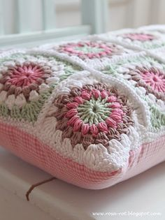 Pink, milk chocolate, mint sage cushion #crochet #grannysquares