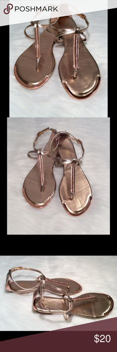Rose Gold Sandals Rose Gold Sandals by Dots, Size 6. Features metal embellishments with rhinestones. Brand new, without tags. Dots Shoes Sandals