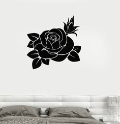 Vinyl Decal Rose Beautiful Flower Living Room Decor Wall Stickers (ig174)