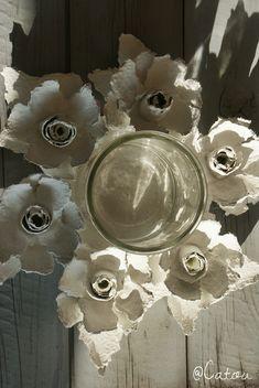basteln sie einfache rosen aus eierschachteln fabric and paper flowers and yo yos pinterest. Black Bedroom Furniture Sets. Home Design Ideas