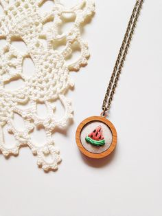The Watermelon . Hand Embroidery in Cherry Wood Pendant . Embroidered Necklace by Gulush Threads