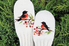 White Hand Knitted Wool Mittens with birds by MySunsetColor, $39.50