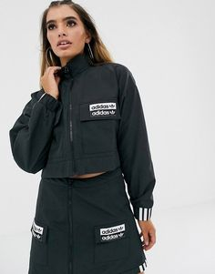 Buy adidas Originals RYV cropped jacket in black at ASOS. Get the latest trends with ASOS now. Coats For Women, Jackets For Women, Clothes For Women, Adidas Originals, Pu Jacket, Summer Jacket, Sporty Outfits, Black Adidas, Lounge Wear
