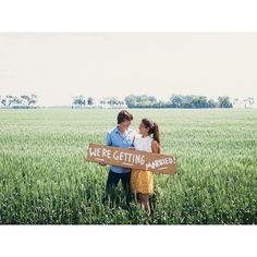 """oh, just standing in a wheat field taking self-timer engagement photos!"""