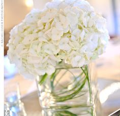 White Hydrangea - simple centerpiece, makes me want to invest in small square vases