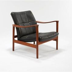 """Torbjorn Afdal: The """"Oxhide"""" chair for George Jensen, ca. Armchairs, Sofas, Chair Design, Danish, Mid-century Modern, Accent Chairs, Mid Century, Furniture, Home Decor"""