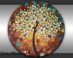Abstract textured cherry blossom painting round canvas art warm cool colors artwork one of a kind modern home office wall decor unique gift