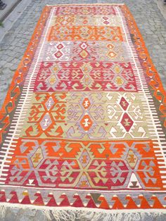 Orange and Red Turkish Kilim Rug, Vintage Kilim Carpet, Large Decorative Hand Woven Area Rug FAST DELIVERY 346x165cm Modern Bohemian decor by VintageArtFactory on Etsy https://www.etsy.com/listing/168390251/orange-and-red-turkish-kilim-rug-vintage