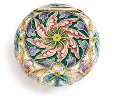 A Russian Silver and Shaded Enamel Pill Box, Fedor Rückert, Moscow, 1899-1908