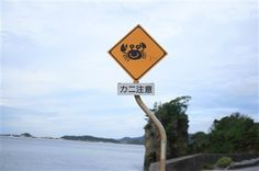 """Caution! Crabs"" sign in Okinawa, Japan"