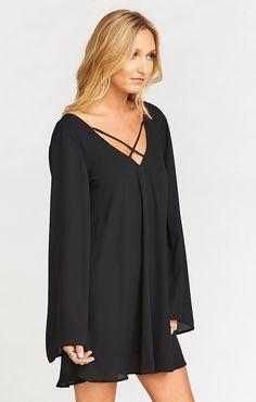 Joni Flow Dress ~ Black Crisp