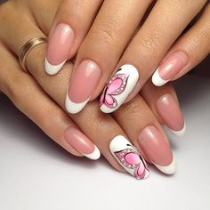 Air nails, Beautiful French nails, Beautiful summer french nails, Butterfly french manicure, Butterfly nails, French manicure, June nails, Oval French manicure