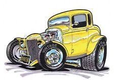 "American Graffiti 32 Ford   American Graffiti 1932 Milner's Deuce Coupe Cartoon Print 8-1/2"" X 11 ..."