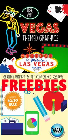 FREE VEGAS CLIP ART!! As a thank you to Teachers Pay Teachers and the fabulous presenters at the TPT Vegas 2015 Sellers Conference, we're giving away this FREE set of 36 Vegas themed clip art for you to use in your stores, blogs, and products! Enjoy!! #teacherspayteachers #tptvegas15 #teacherstakevegas #teachersoftpt #teachersfollowteachers