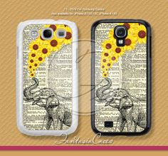 Elephant, sunflower, Vintage, Samsung Galaxy S4 case, Samsung Galaxy S3 case, Phone Cases, Phone Covers, Skins, Case for Samsung, FS-0374