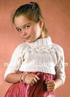Вязание спицами для девочек. Пуловер