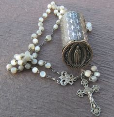 Antique French Rosary Mother Of Pearl Sterling With Virgin Mary Fleur De Lis Chapelet Holder Signed Penin