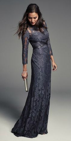 Gray lace gown with long sleeves. Mother-of-the-Bride dresses for fall or winter weddings.
