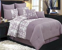 Modern Purple Floral Leaves 12 piece Color Block Comforter Set with Sheets and Decorative Pillows