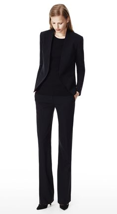 THEORY Black Lanai Jacket & Emery 2 Pant in Urban Stretch Wool