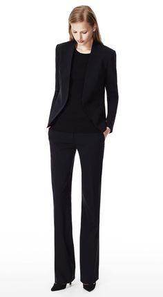 THEORY Black Lanai Jacket & Emery 2 Pant in Urban Stretch Wool