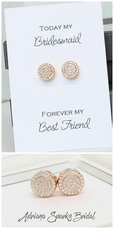 Rose Gold Pave Stud Earrings Bridesmaid earrings   Bridal Party Gift www.adrianasparksbridal.com #bridesmaidsearrings #wedding #rosegoldearrings