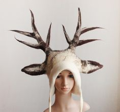 Fantasy White Stag Hat - Antlers Headdress for a druid shaman cosplay or a fantasy LARP by FeltYourself on Etsy