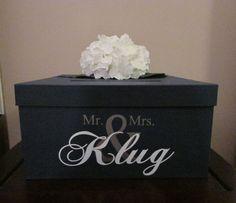 "Wedding Card Box 12"", Navy Blue Wedding Card Holder, Navy Gift Card Box Gift Card Holder with Mr. and Mrs. Custom Name"