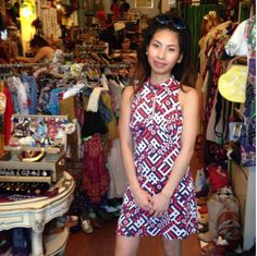 Huong looks so adorable in this 1970's red, white and blue number she just picked up at the shop!