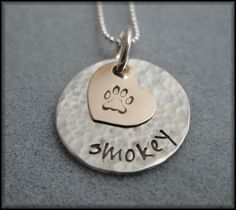 Hand Stamped Personalized  Pet Name Necklace - 14kt gold filled HEART - Love My Pet Stamped Jewelry via Etsy