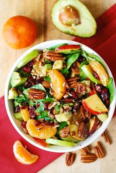 Apple Cranberry Spinach Salad with Pecans, Avocados (and Balsamic Vinaigrette Dressing) – Helprecipes Cranberry Spinach Salad, Spinach Salad Recipes, Avocado Recipes, Vegetarian Recipes, Cooking Recipes, Healthy Recipes, Cooking Tips, Healthy Salads, Healthy Eating