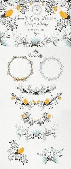 Ideas For Wedding Card Illustration Design Floral Wreaths Watercolor Flowers, Watercolor Art, Drawing Flowers, Drawn Art, Hand Drawn, Karten Diy, Grey Flowers, Small Flowers, Motif Floral