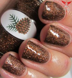 The Nail Junkie: Pinecone polish is a dense glitter polish made of micro brown glitter.