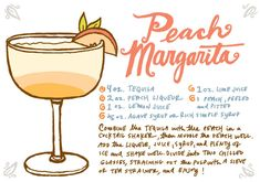 Recipe Card: Peach Margarita, Illustration by Caitlin Keegan for Oh So Beautiful Paper