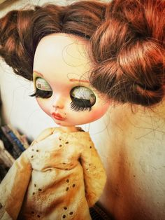 Blythe doll, ooak, fashion doll, bambola, custom, red hair, wavy hair