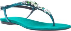 Green leather sandals from Barbara Bui featuring an open toe, a gem embellished front strap.
