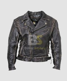 Mens Antique-Black Rub-Off Motorcycle Outfit