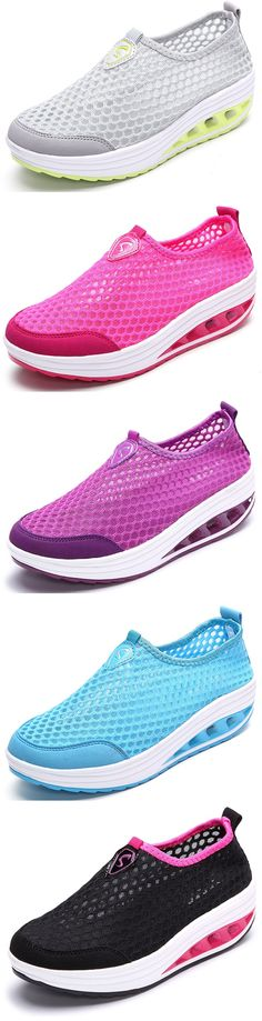 Mesh Breathable Pure Color Slip On Athletic Platform Casual Sport Shake Shoes Comfy Shoes, Cute Shoes, Comfortable Shoes, Me Too Shoes, Casual Shoes, Casual Outfits, Sport Casual, Summer Shoes, Shoes Online