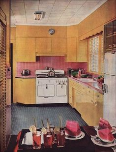 1950s kitchen with a Chambers Range.
