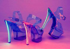 lite-up clear stripper shoes :}