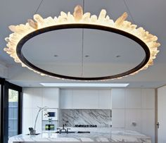 Modern chandelier made from quartz crystal points