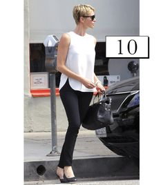 Charlize Theron // pixie cut & a minimal white top with sleek black jeans. // Get The Look:Topshop Velma Sleeveless Top ($76) in White, BDG Cigarette Mid-Rise Jean ($54) in Black Overdye.