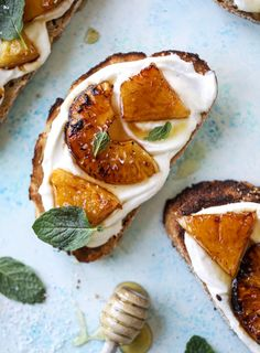 Roasted Pineapple Whipped Ricotta Toast with Sea Salt. - How Sweet Eats Healthy Breakfast Recipes, Brunch Recipes, Healthy Snacks, Healthy Recipes, Keto Snacks, Keto Recipes, Healthy Eating, Fun Baking Recipes, Cooking Recipes