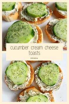 Cucumber Cream Cheese Toasts Appetizer The ultimate crowd-pleasing appetizer: cucumber cream cheese toasts. They'll be gone before you know it anytime you serve them, and they're SO easy to make! Cucumber Appetizers, Best Appetizers, Appetizer Recipes, Simple Appetizers, Yummy Recipes, Breakfast Appetizers, Recipies, Cucumber Bites, Christmas Appetizers
